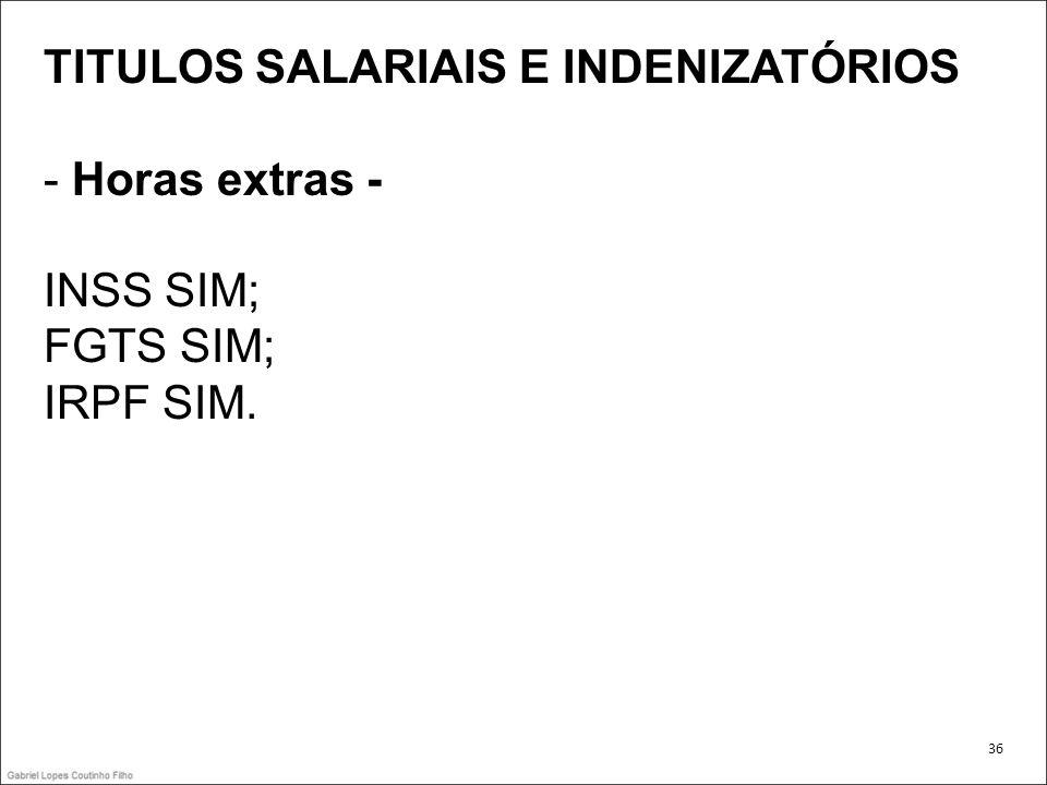 TITULOS SALARIAIS E INDENIZATÓRIOS - Horas extras - INSS SIM;
