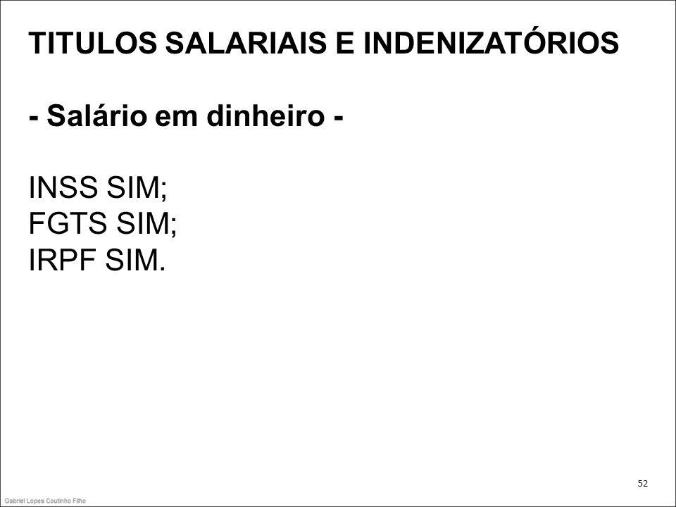TITULOS SALARIAIS E INDENIZATÓRIOS - Salário em dinheiro - INSS SIM;