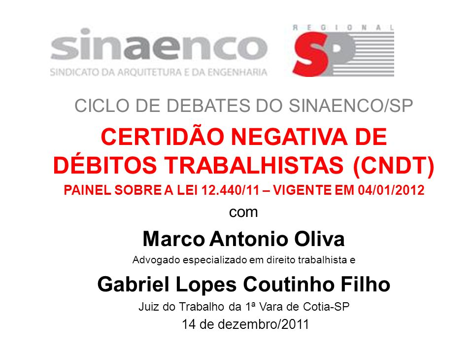 CERTIDÃO NEGATIVA DE DÉBITOS TRABALHISTAS (CNDT)