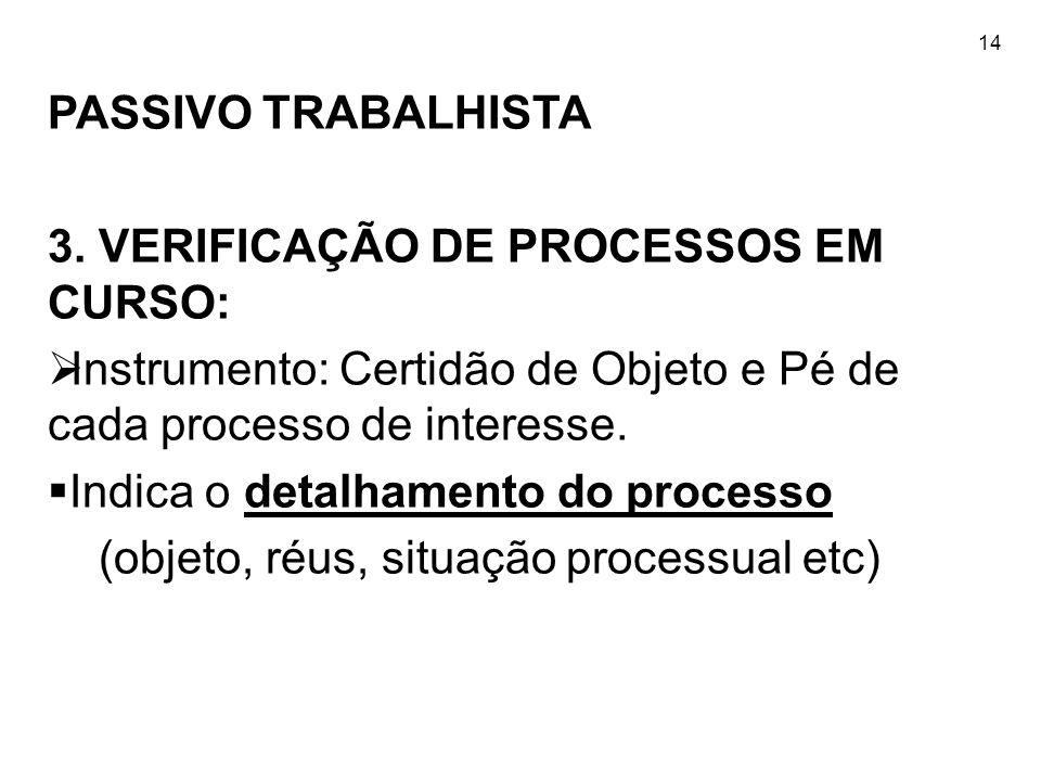 3. VERIFICAÇÃO DE PROCESSOS EM CURSO: