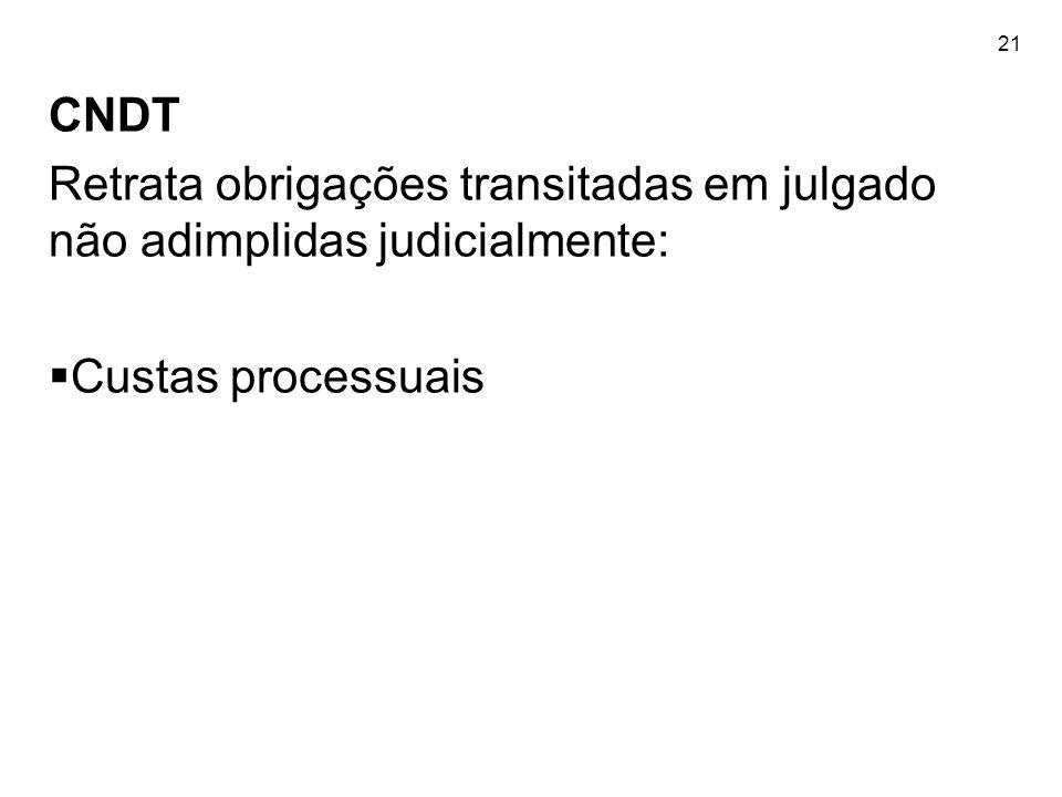21 CNDT Retrata obrigações transitadas em julgado não adimplidas judicialmente: Custas processuais