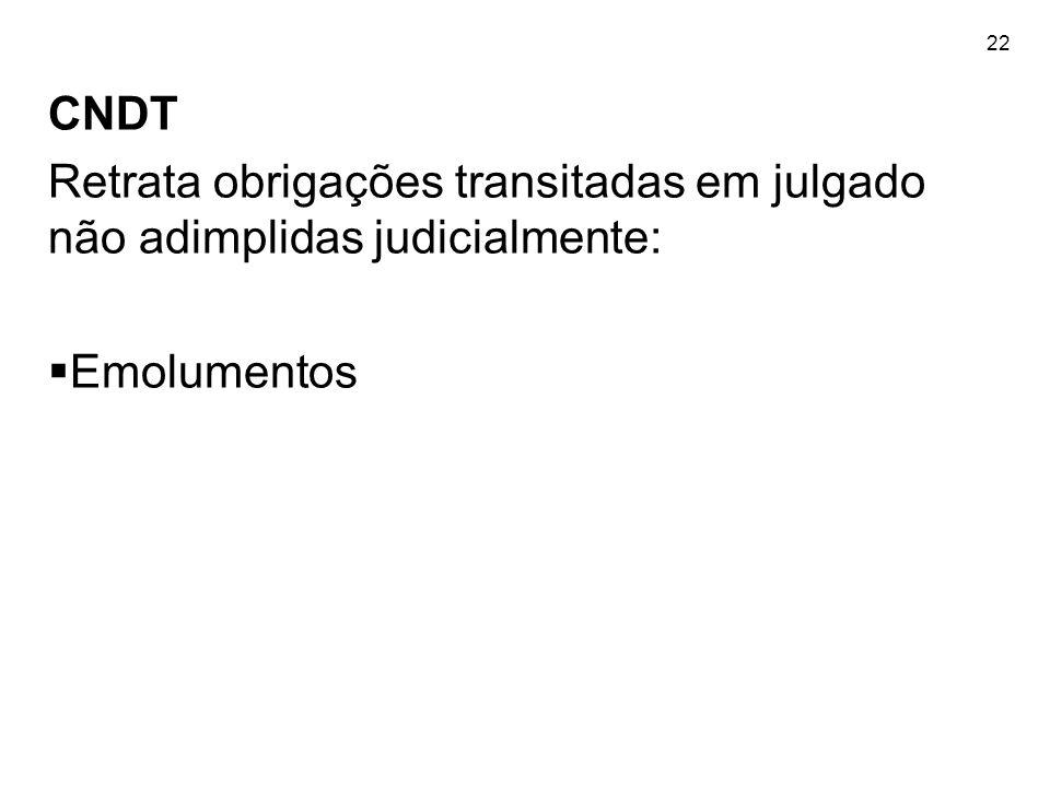 22 CNDT Retrata obrigações transitadas em julgado não adimplidas judicialmente: Emolumentos