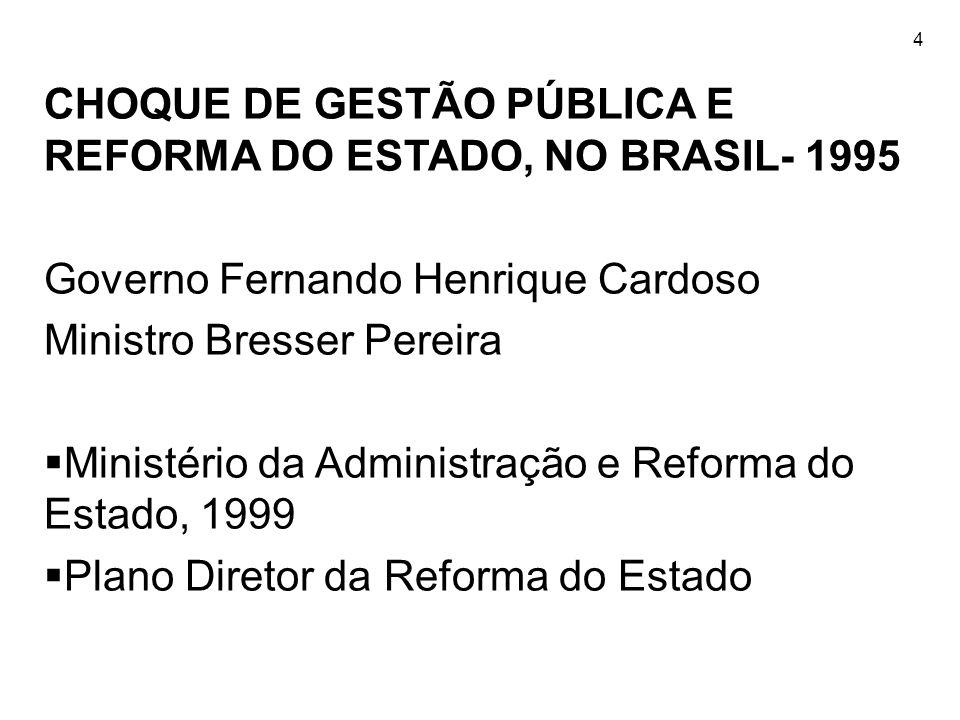 CHOQUE DE GESTÃO PÚBLICA E REFORMA DO ESTADO, NO BRASIL- 1995