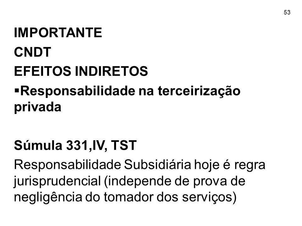 Responsabilidade na terceirização privada Súmula 331,IV, TST