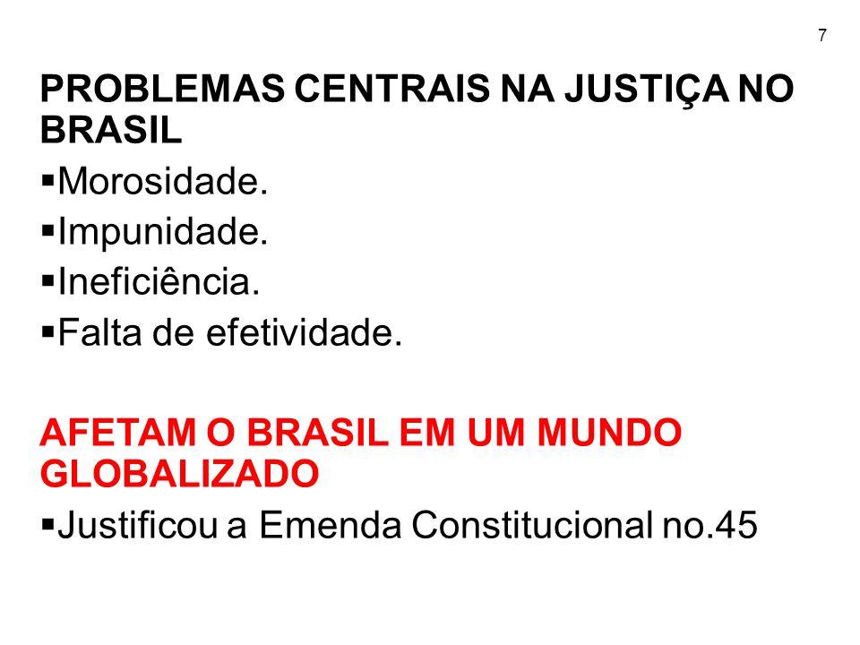PROBLEMAS CENTRAIS NA JUSTIÇA NO BRASIL Morosidade. Impunidade.