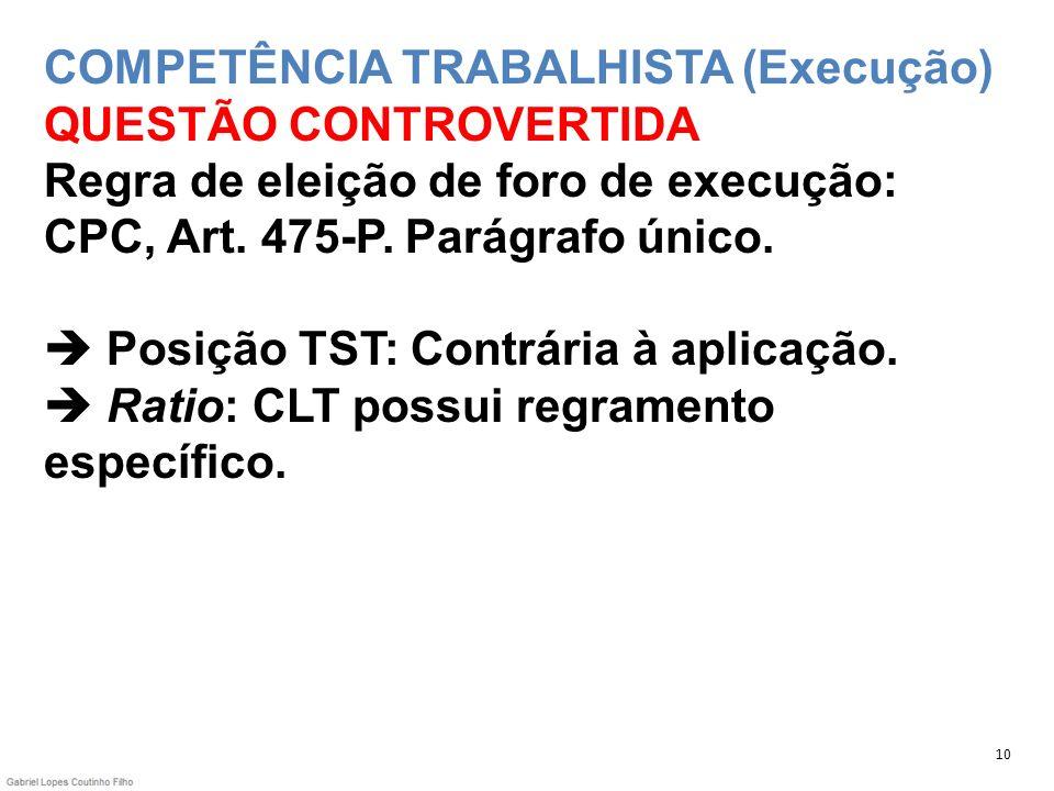 COMPETÊNCIA TRABALHISTA (Execução) QUESTÃO CONTROVERTIDA Regra de eleição de foro de execução: CPC, Art. 475-P. Parágrafo único.  Posição TST: Contrária à aplicação.  Ratio: CLT possui regramento específico.