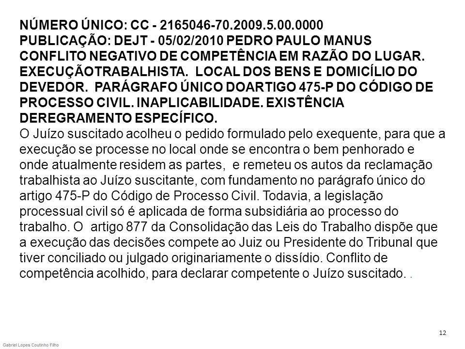 NÚMERO ÚNICO: CC - 2165046-70.2009.5.00.0000 PUBLICAÇÃO: DEJT - 05/02/2010 PEDRO PAULO MANUS CONFLITO NEGATIVO DE COMPETÊNCIA EM RAZÃO DO LUGAR. EXECUÇÃOTRABALHISTA. LOCAL DOS BENS E DOMICÍLIO DO DEVEDOR. PARÁGRAFO ÚNICO DOARTIGO 475-P DO CÓDIGO DE PROCESSO CIVIL. INAPLICABILIDADE. EXISTÊNCIA DEREGRAMENTO ESPECÍFICO. O Juízo suscitado acolheu o pedido formulado pelo exequente, para que a execução se processe no local onde se encontra o bem penhorado e onde atualmente residem as partes, e remeteu os autos da reclamação trabalhista ao Juízo suscitante, com fundamento no parágrafo único do artigo 475-P do Código de Processo Civil. Todavia, a legislação processual civil só é aplicada de forma subsidiária ao processo do trabalho. O artigo 877 da Consolidação das Leis do Trabalho dispõe que a execução das decisões compete ao Juiz ou Presidente do Tribunal que tiver conciliado ou julgado originariamente o dissídio. Conflito de competência acolhido, para declarar competente o Juízo suscitado. .