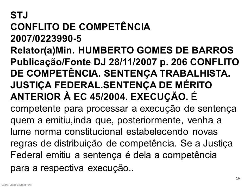 STJ CONFLITO DE COMPETÊNCIA 2007/0223990-5 Relator(a)Min