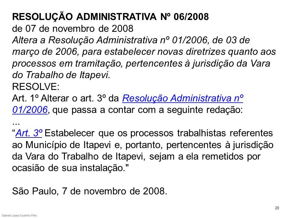 RESOLUÇÃO ADMINISTRATIVA Nº 06/2008 de 07 de novembro de 2008 Altera a Resolução Administrativa nº 01/2006, de 03 de março de 2006, para estabelecer novas diretrizes quanto aos processos em tramitação, pertencentes à jurisdição da Vara do Trabalho de Itapevi. RESOLVE: Art. 1º Alterar o art. 3º da Resolução Administrativa nº 01/2006, que passa a contar com a seguinte redação: ... Art. 3º Estabelecer que os processos trabalhistas referentes ao Município de Itapevi e, portanto, pertencentes à jurisdição da Vara do Trabalho de Itapevi, sejam a ela remetidos por ocasião de sua instalação. São Paulo, 7 de novembro de 2008.