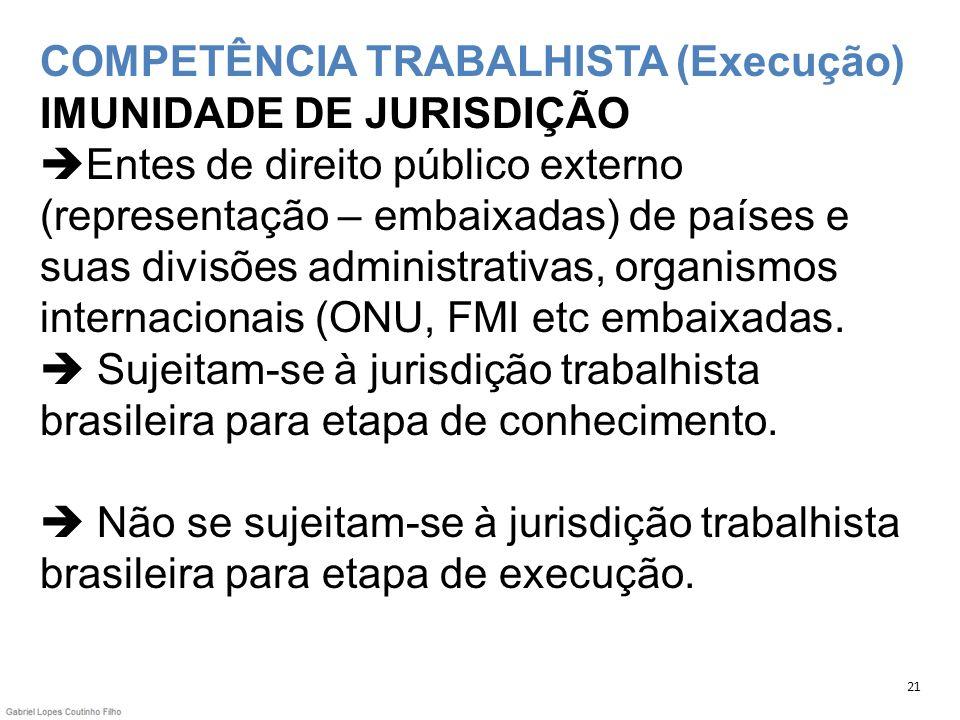 COMPETÊNCIA TRABALHISTA (Execução) IMUNIDADE DE JURISDIÇÃO Entes de direito público externo (representação – embaixadas) de países e suas divisões administrativas, organismos internacionais (ONU, FMI etc embaixadas.  Sujeitam-se à jurisdição trabalhista brasileira para etapa de conhecimento.  Não se sujeitam-se à jurisdição trabalhista brasileira para etapa de execução.
