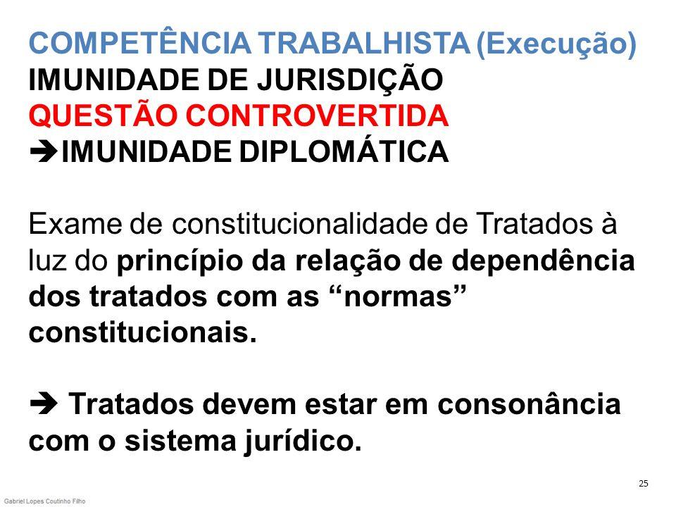 COMPETÊNCIA TRABALHISTA (Execução) IMUNIDADE DE JURISDIÇÃO QUESTÃO CONTROVERTIDA IMUNIDADE DIPLOMÁTICA Exame de constitucionalidade de Tratados à luz do princípio da relação de dependência dos tratados com as normas constitucionais.  Tratados devem estar em consonância com o sistema jurídico.
