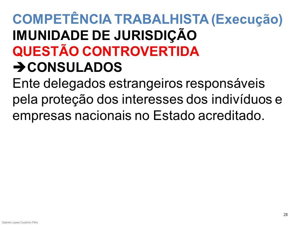 COMPETÊNCIA TRABALHISTA (Execução) IMUNIDADE DE JURISDIÇÃO QUESTÃO CONTROVERTIDA CONSULADOS Ente delegados estrangeiros responsáveis pela proteção dos interesses dos indivíduos e empresas nacionais no Estado acreditado.