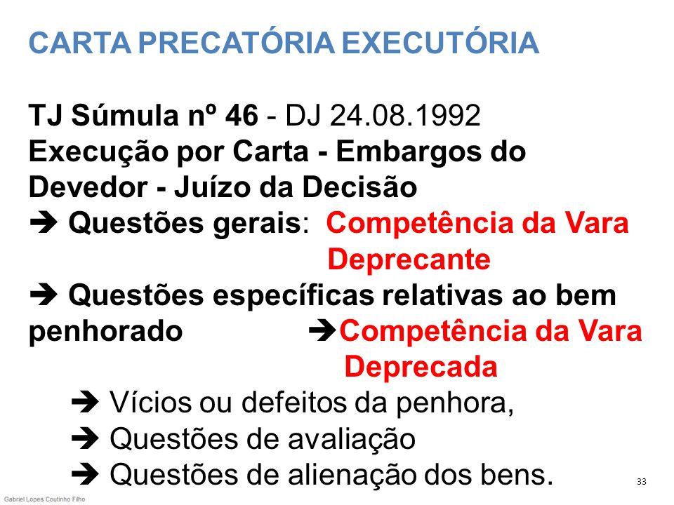 CARTA PRECATÓRIA EXECUTÓRIA TJ Súmula nº 46 - DJ 24. 08