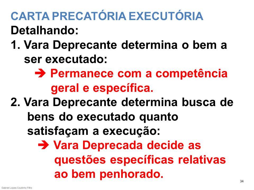 CARTA PRECATÓRIA EXECUTÓRIA Detalhando: 1