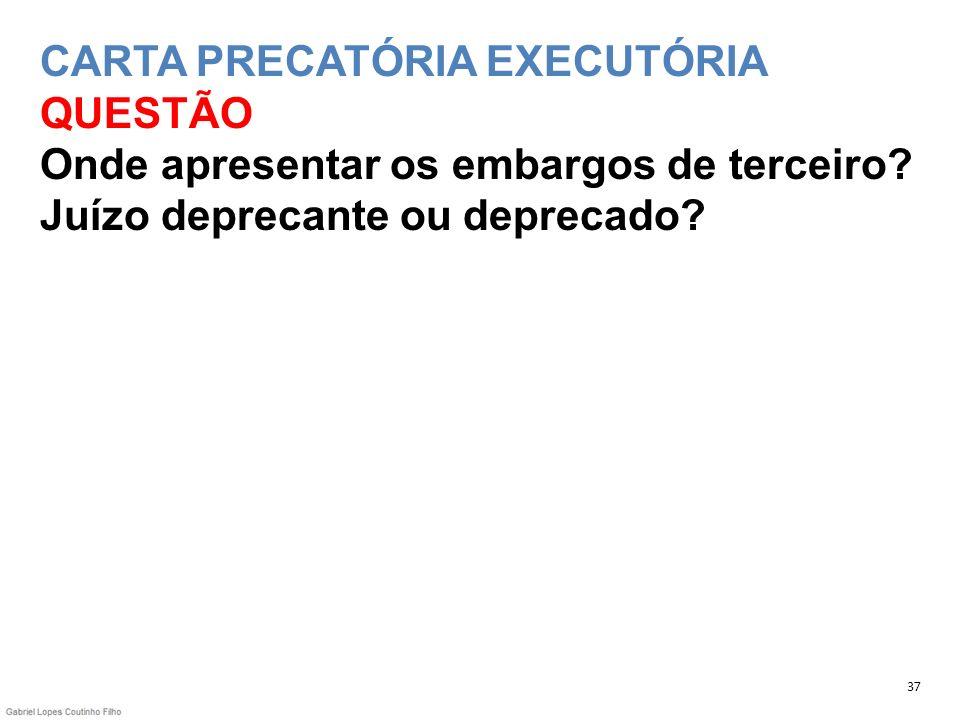 CARTA PRECATÓRIA EXECUTÓRIA QUESTÃO Onde apresentar os embargos de terceiro Juízo deprecante ou deprecado