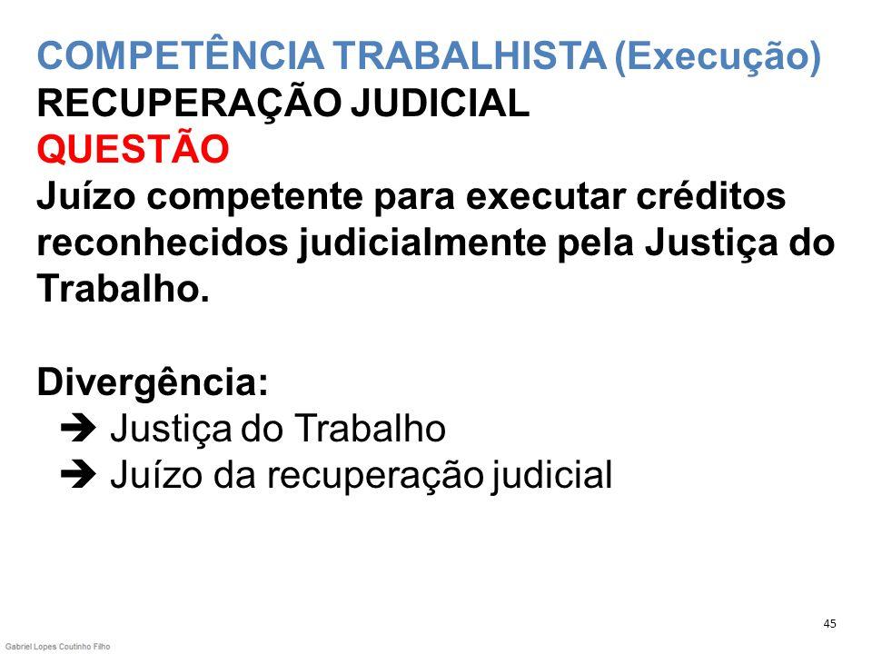 COMPETÊNCIA TRABALHISTA (Execução) RECUPERAÇÃO JUDICIAL QUESTÃO Juízo competente para executar créditos reconhecidos judicialmente pela Justiça do Trabalho. Divergência:  Justiça do Trabalho  Juízo da recuperação judicial