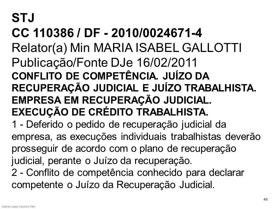 STJ CC 110386 / DF - 2010/0024671-4 Relator(a) Min MARIA ISABEL GALLOTTI Publicação/Fonte DJe 16/02/2011 CONFLITO DE COMPETÊNCIA. JUÍZO DA RECUPERAÇÃO JUDICIAL E JUÍZO TRABALHISTA. EMPRESA EM RECUPERAÇÃO JUDICIAL. EXECUÇÃO DE CRÉDITO TRABALHISTA. 1 - Deferido o pedido de recuperação judicial da empresa, as execuções individuais trabalhistas deverão prosseguir de acordo com o plano de recuperação judicial, perante o Juízo da recuperação. 2 - Conflito de competência conhecido para declarar competente o Juízo da Recuperação Judicial.