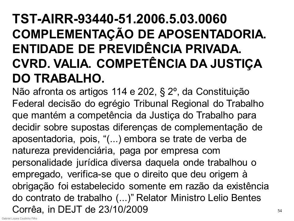 TST-AIRR-93440-51. 2006. 5. 03. 0060 COMPLEMENTAÇÃO DE APOSENTADORIA