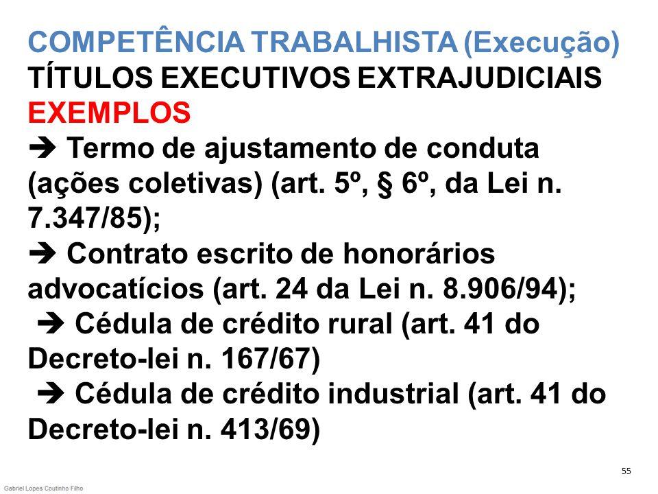 COMPETÊNCIA TRABALHISTA (Execução) TÍTULOS EXECUTIVOS EXTRAJUDICIAIS EXEMPLOS  Termo de ajustamento de conduta (ações coletivas) (art. 5º, § 6º, da Lei n. 7.347/85);  Contrato escrito de honorários advocatícios (art. 24 da Lei n. 8.906/94);  Cédula de crédito rural (art. 41 do Decreto-lei n. 167/67)  Cédula de crédito industrial (art. 41 do Decreto-lei n. 413/69)