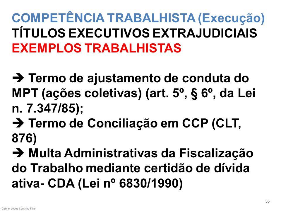 COMPETÊNCIA TRABALHISTA (Execução) TÍTULOS EXECUTIVOS EXTRAJUDICIAIS EXEMPLOS TRABALHISTAS  Termo de ajustamento de conduta do MPT (ações coletivas) (art. 5º, § 6º, da Lei n. 7.347/85);  Termo de Conciliação em CCP (CLT, 876)  Multa Administrativas da Fiscalização do Trabalho mediante certidão de dívida ativa- CDA (Lei nº 6830/1990)