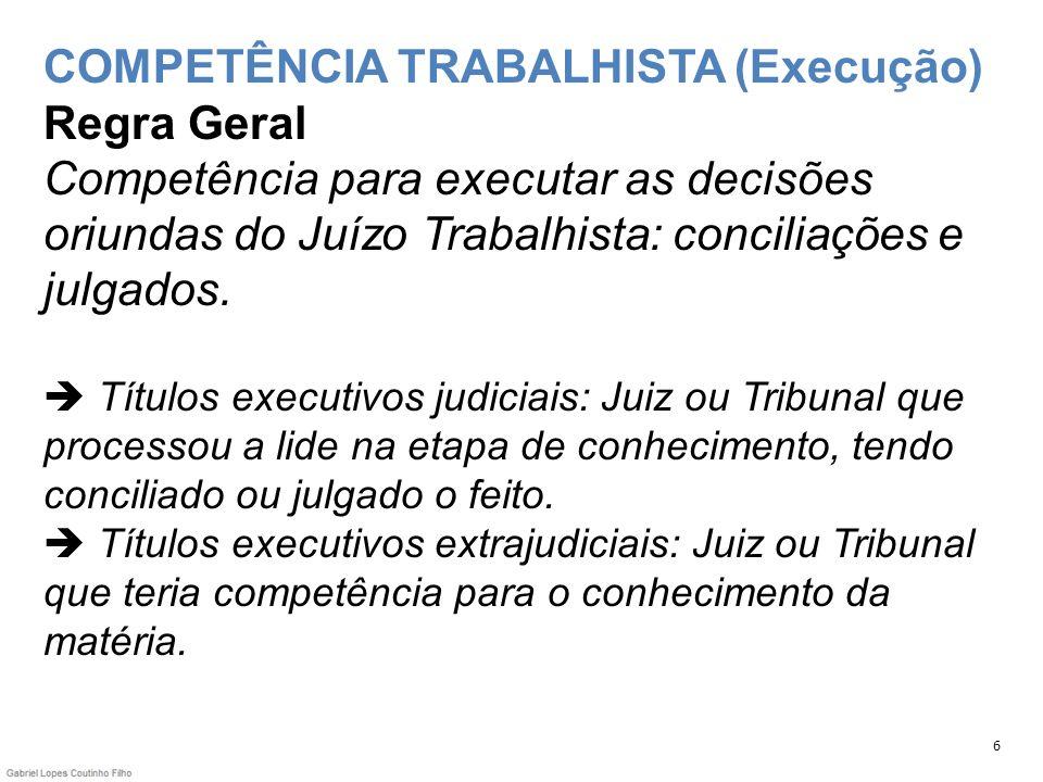 COMPETÊNCIA TRABALHISTA (Execução) Regra Geral Competência para executar as decisões oriundas do Juízo Trabalhista: conciliações e julgados.  Títulos executivos judiciais: Juiz ou Tribunal que processou a lide na etapa de conhecimento, tendo conciliado ou julgado o feito.  Títulos executivos extrajudiciais: Juiz ou Tribunal que teria competência para o conhecimento da matéria.