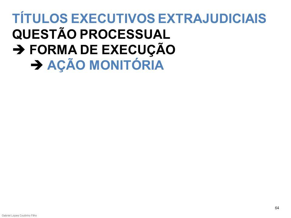 TÍTULOS EXECUTIVOS EXTRAJUDICIAIS QUESTÃO PROCESSUAL  FORMA DE EXECUÇÃO  AÇÃO MONITÓRIA