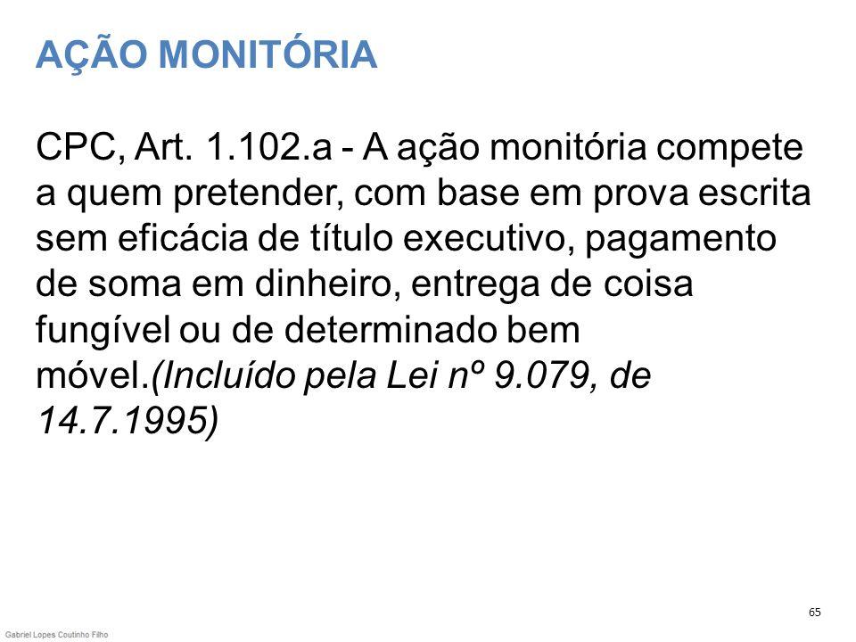 AÇÃO MONITÓRIA CPC, Art. 1.102.a - A ação monitória compete a quem pretender, com base em prova escrita sem eficácia de título executivo, pagamento de soma em dinheiro, entrega de coisa fungível ou de determinado bem móvel.(Incluído pela Lei nº 9.079, de 14.7.1995)