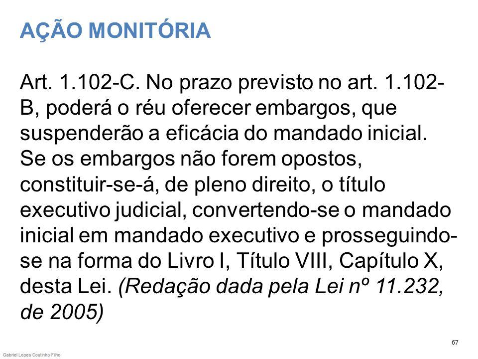 AÇÃO MONITÓRIA Art. 1. 102-C. No prazo previsto no art. 1