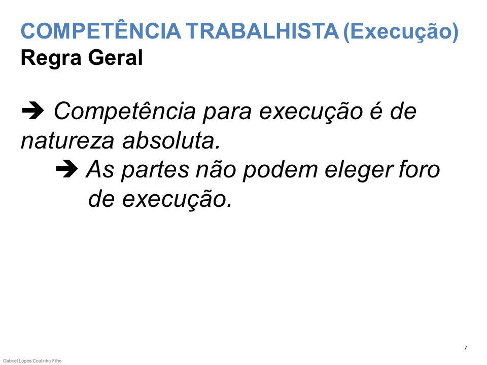 COMPETÊNCIA TRABALHISTA (Execução) Regra Geral  Competência para execução é de natureza absoluta.  As partes não podem eleger foro de execução.