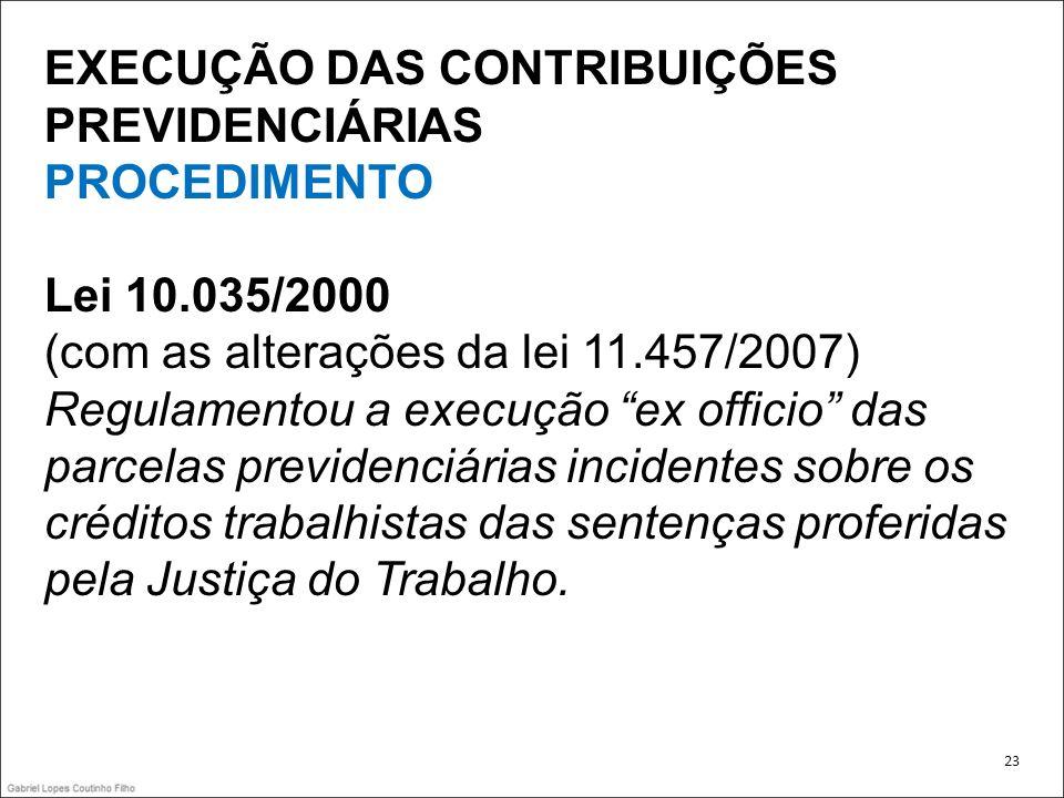 EXECUÇÃO DAS CONTRIBUIÇÕES PREVIDENCIÁRIAS PROCEDIMENTO