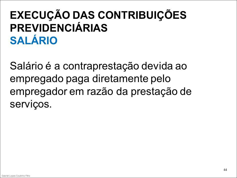 EXECUÇÃO DAS CONTRIBUIÇÕES PREVIDENCIÁRIAS SALÁRIO