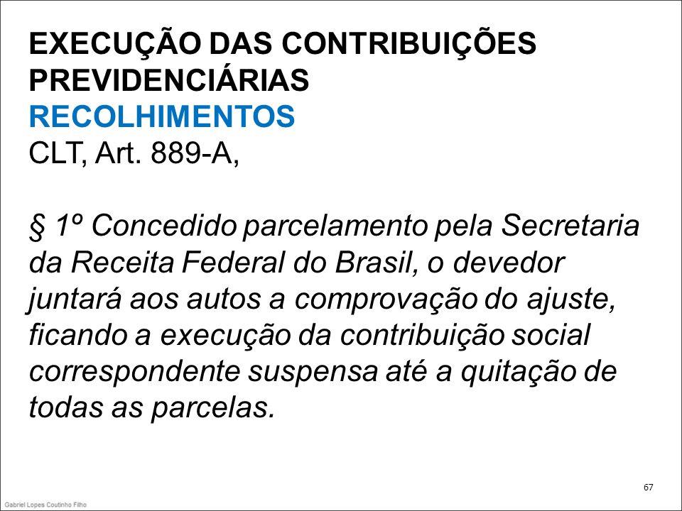 EXECUÇÃO DAS CONTRIBUIÇÕES PREVIDENCIÁRIAS RECOLHIMENTOS