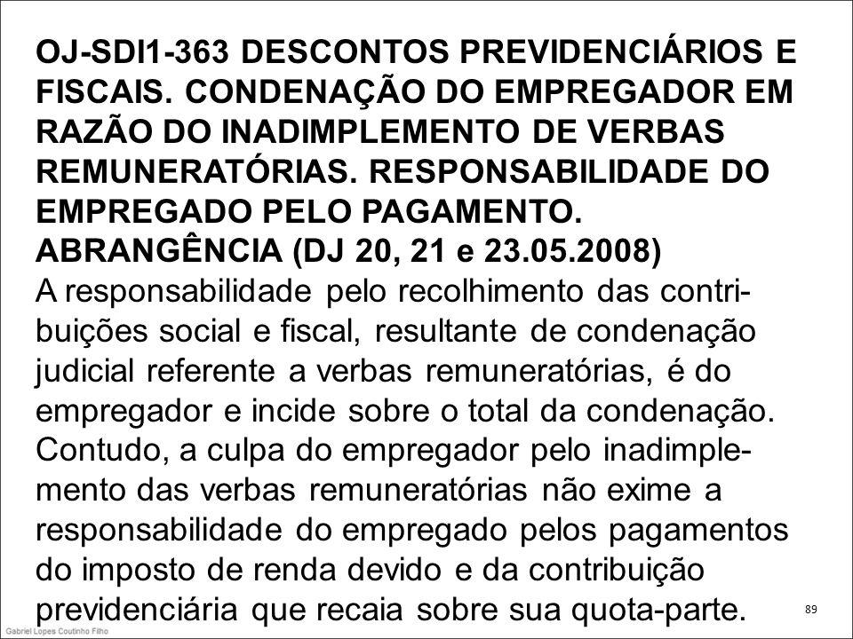 OJ-SDI1-363 DESCONTOS PREVIDENCIÁRIOS E FISCAIS
