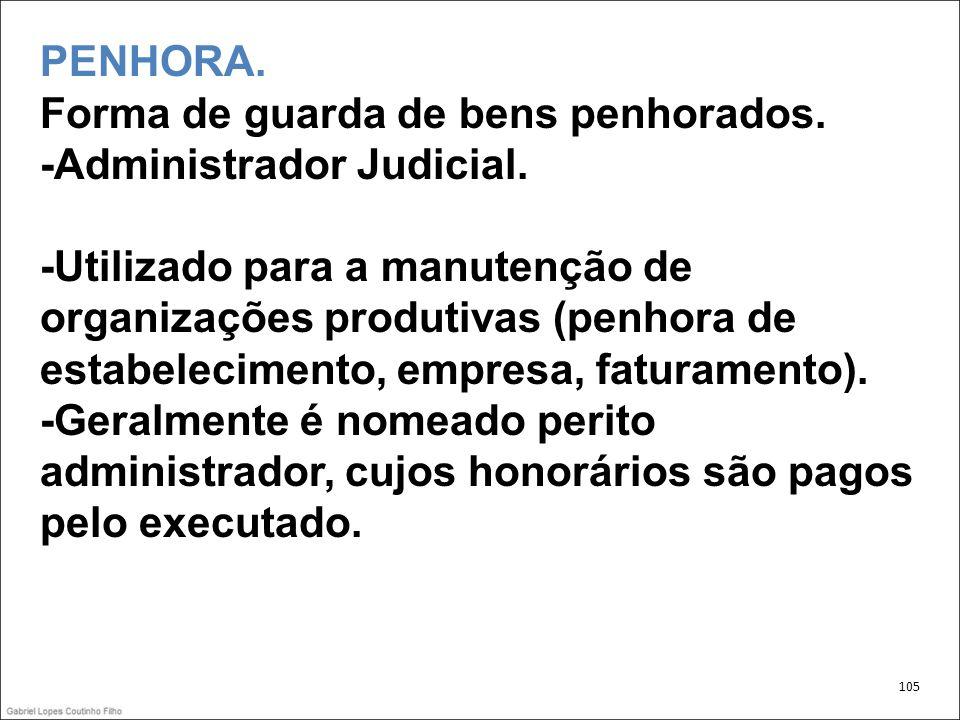 PENHORA. Forma de guarda de bens penhorados. -Administrador Judicial.