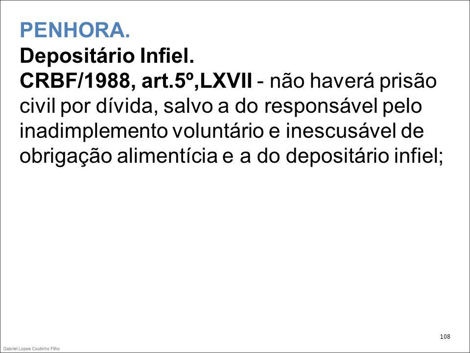 PENHORA. Depositário Infiel. CRBF/1988, art