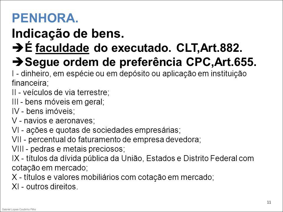 PENHORA. Indicação de bens. É faculdade do executado. CLT,Art. 882