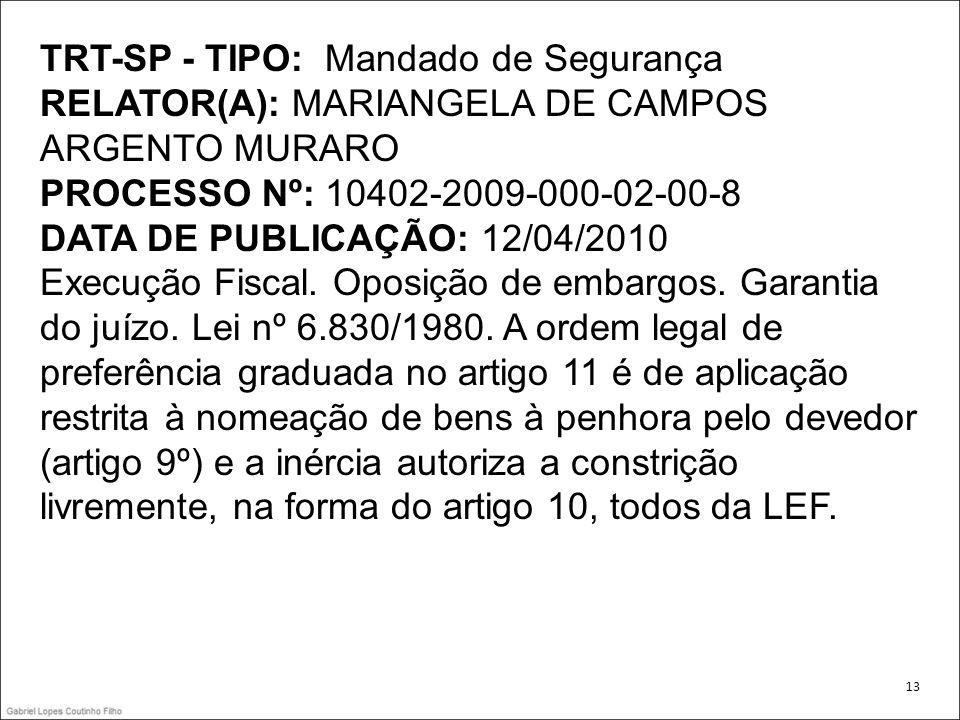 TRT-SP - TIPO: Mandado de Segurança