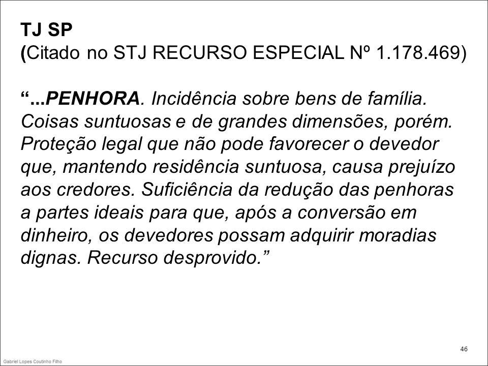 TJ SP (Citado no STJ RECURSO ESPECIAL Nº 1. 178. 469) . PENHORA