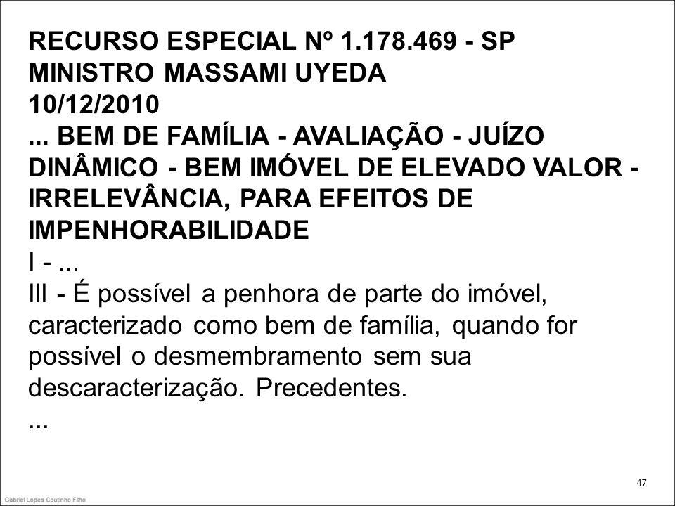 RECURSO ESPECIAL Nº 1. 178. 469 - SP MINISTRO MASSAMI UYEDA 10/12/2010