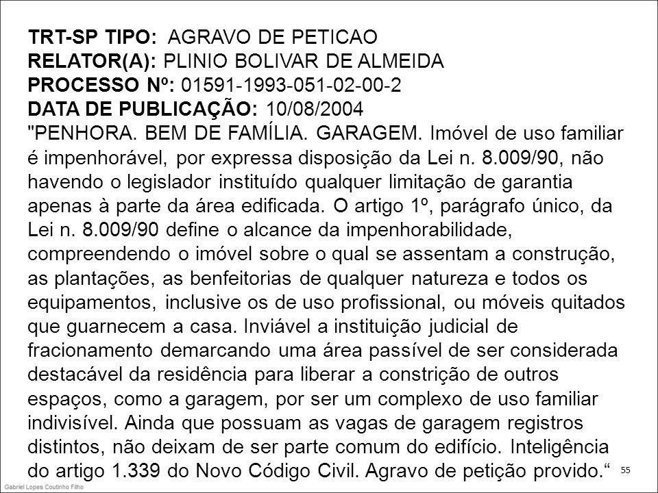 TRT-SP TIPO: AGRAVO DE PETICAO RELATOR(A): PLINIO BOLIVAR DE ALMEIDA