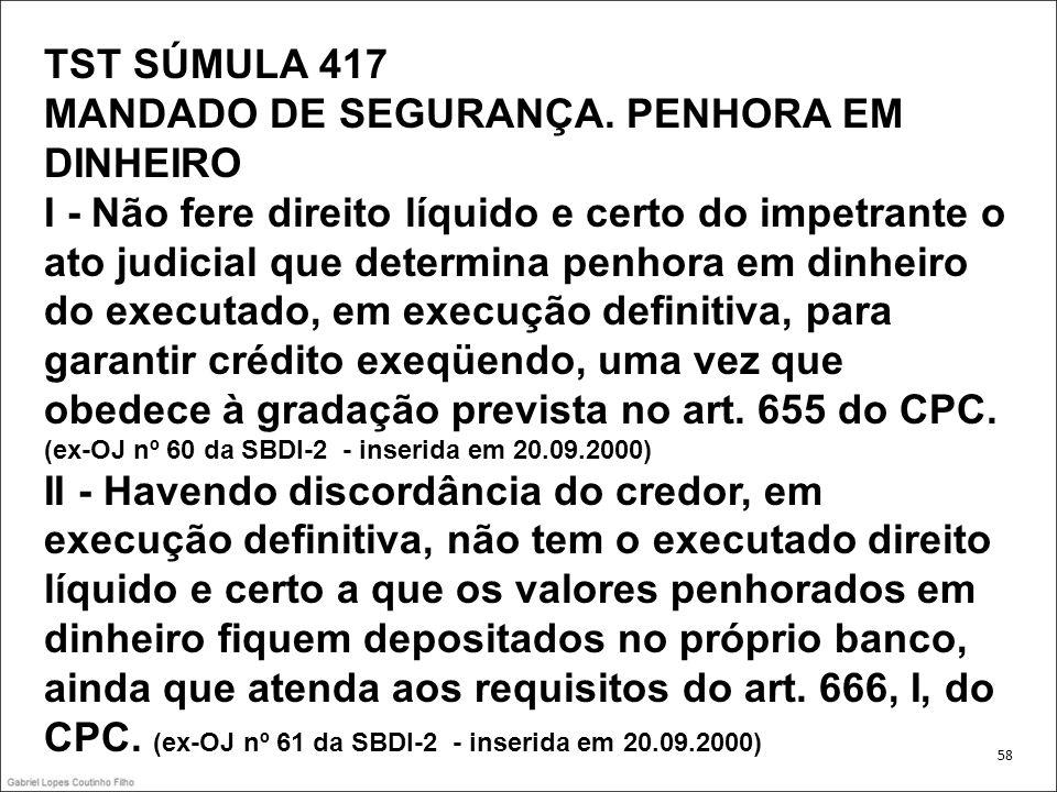 TST SÚMULA 417 MANDADO DE SEGURANÇA