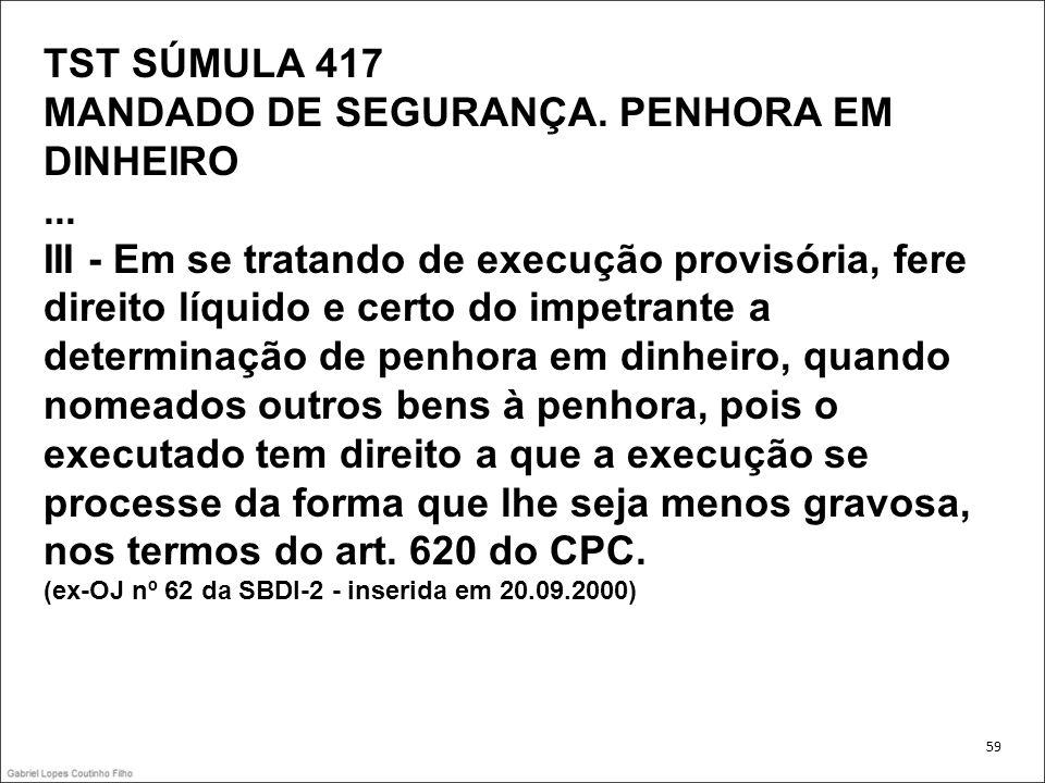 TST SÚMULA 417 MANDADO DE SEGURANÇA. PENHORA EM DINHEIRO