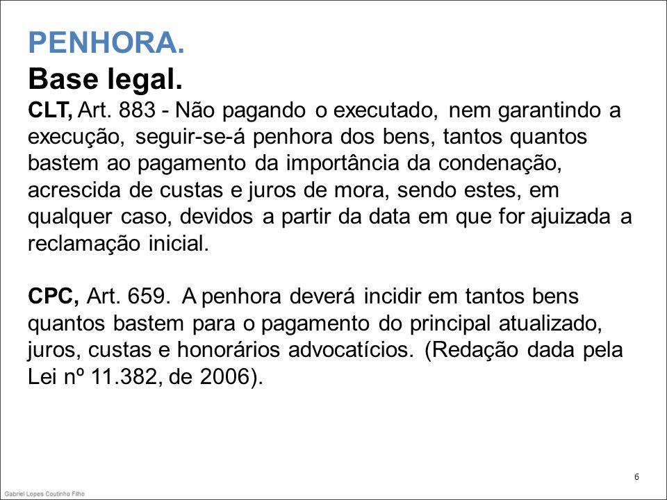 PENHORA. Base legal.