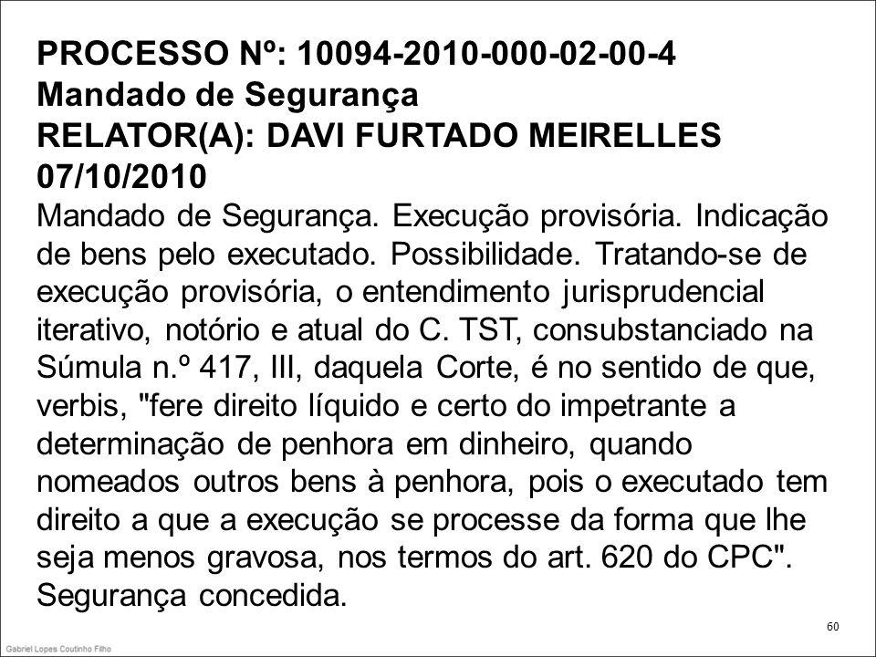 PROCESSO Nº: 10094-2010-000-02-00-4 Mandado de Segurança RELATOR(A): DAVI FURTADO MEIRELLES 07/10/2010 Mandado de Segurança. Execução provisória. Indicação de bens pelo executado. Possibilidade. Tratando-se de execução provisória, o entendimento jurisprudencial iterativo, notório e atual do C. TST, consubstanciado na Súmula n.º 417, III, daquela Corte, é no sentido de que, verbis, fere direito líquido e certo do impetrante a determinação de penhora em dinheiro, quando nomeados outros bens à penhora, pois o executado tem direito a que a execução se processe da forma que lhe seja menos gravosa, nos termos do art. 620 do CPC . Segurança concedida.