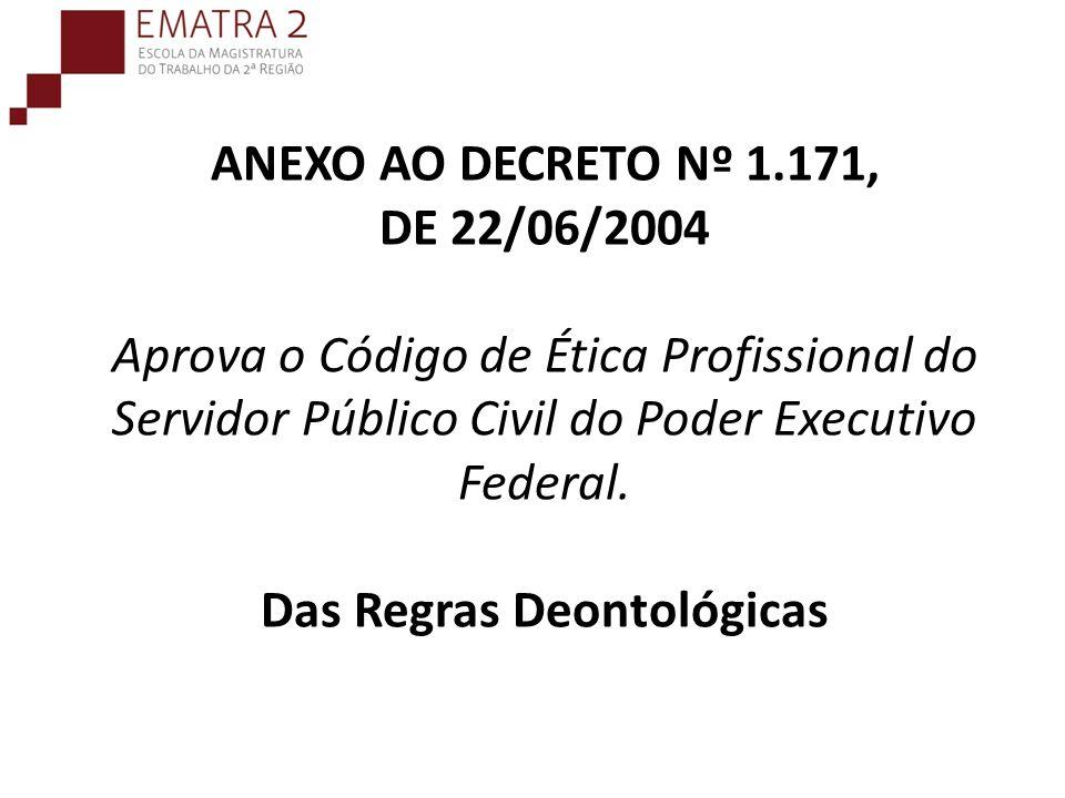 ANEXO AO DECRETO Nº 1.171, DE 22/06/2004 Aprova o Código de Ética Profissional do Servidor Público Civil do Poder Executivo Federal. Das Regras Deontológicas