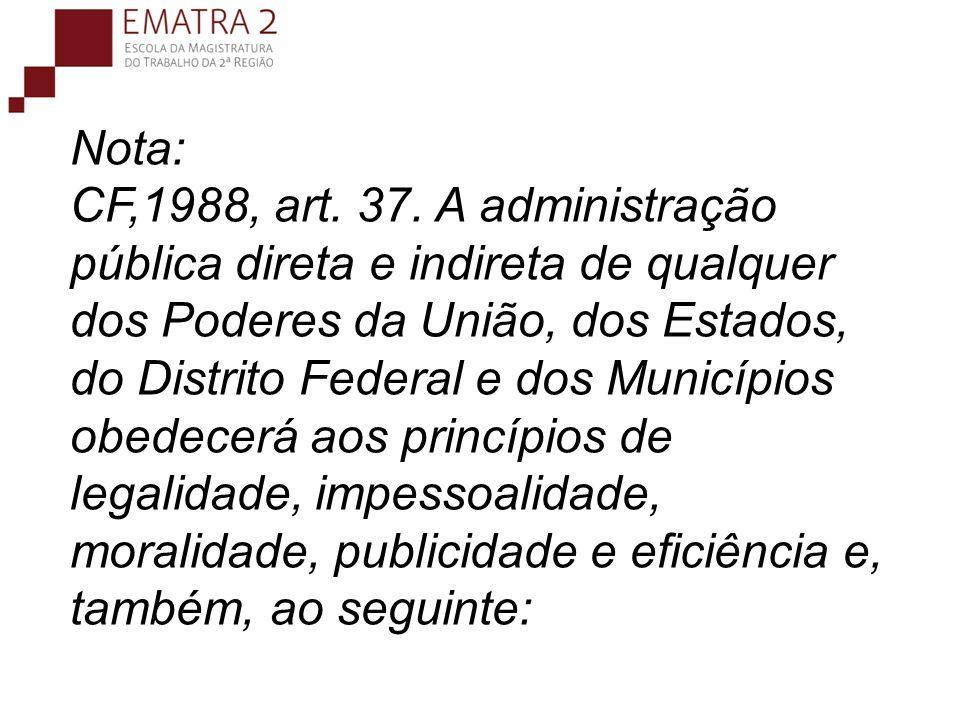 Nota: CF,1988, art.37.