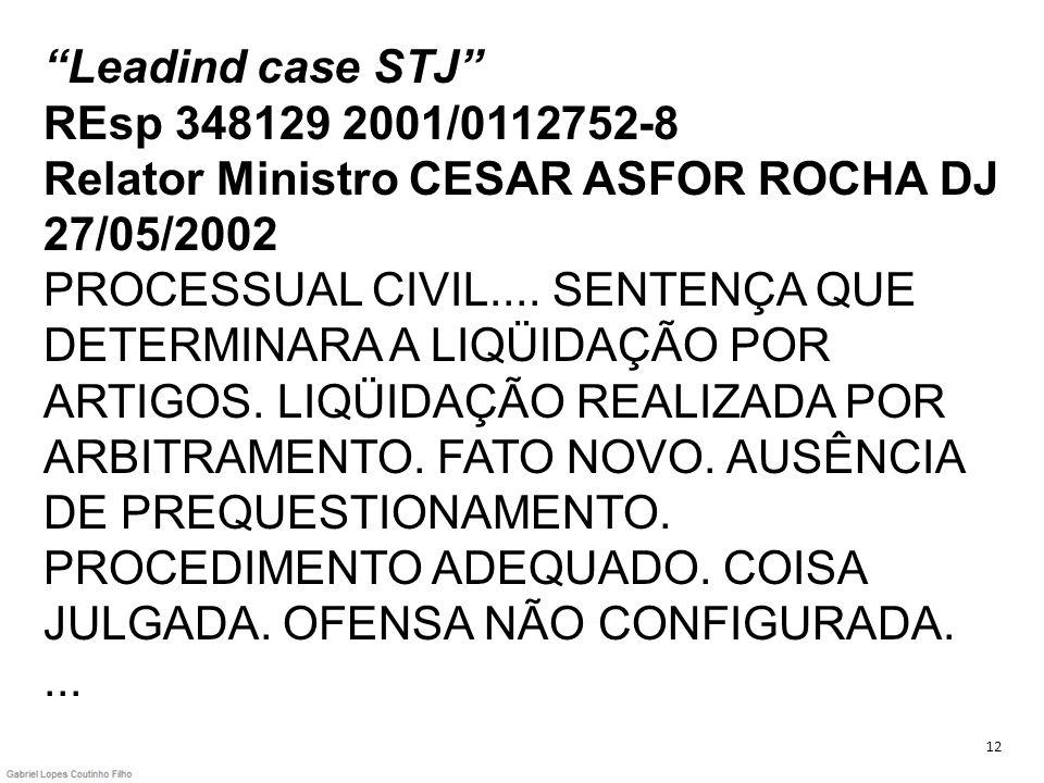 Leadind case STJ REsp 348129 2001/0112752-8 Relator Ministro CESAR ASFOR ROCHA DJ 27/05/2002 PROCESSUAL CIVIL.... SENTENÇA QUE DETERMINARA A LIQÜIDAÇÃO POR ARTIGOS. LIQÜIDAÇÃO REALIZADA POR ARBITRAMENTO. FATO NOVO. AUSÊNCIA DE PREQUESTIONAMENTO. PROCEDIMENTO ADEQUADO. COISA JULGADA. OFENSA NÃO CONFIGURADA. ...
