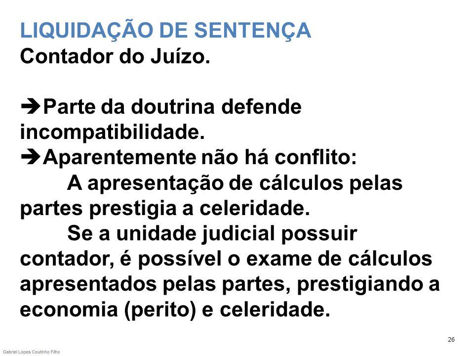 LIQUIDAÇÃO DE SENTENÇA Contador do Juízo