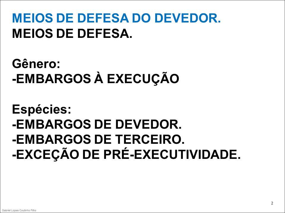 MEIOS DE DEFESA DO DEVEDOR. MEIOS DE DEFESA.
