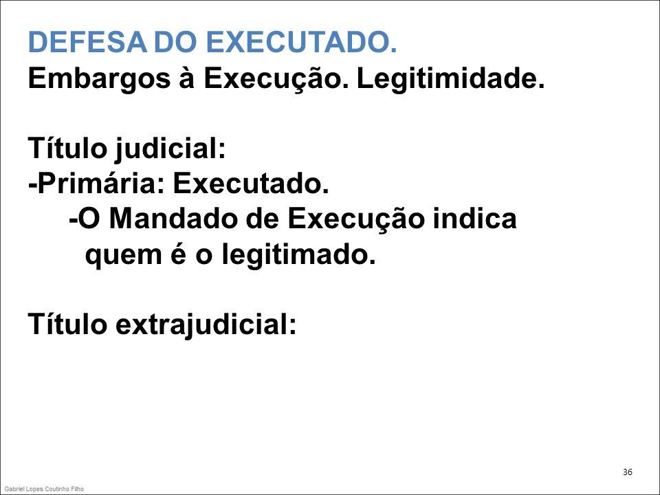 DEFESA DO EXECUTADO. Embargos à Execução. Legitimidade.